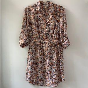 LOFT floral dress pastel 3/4 sleeve career XS